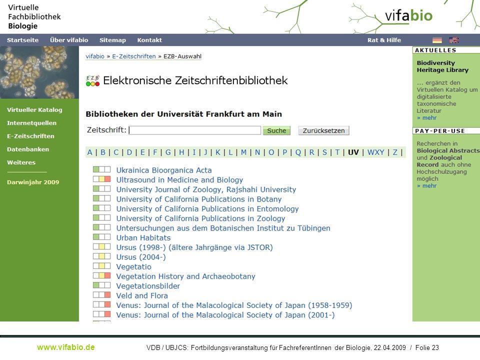 [ Bildschirmfoto: ] EZB-Zeitschriftenliste